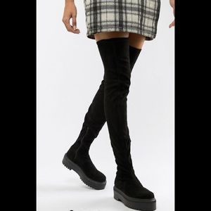 Thigh high faux suede boots